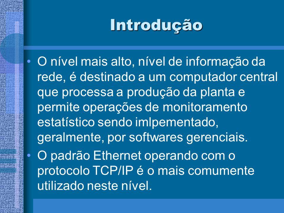 Introdução O nível mais alto, nível de informação da rede, é destinado a um computador central que processa a produção da planta e permite operações d