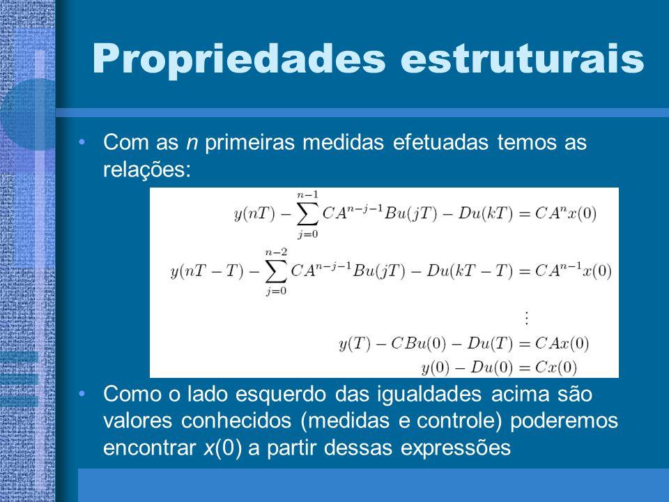 Propriedades estruturais Com as n primeiras medidas efetuadas temos as relações: Como o lado esquerdo das igualdades acima são valores conhecidos (med