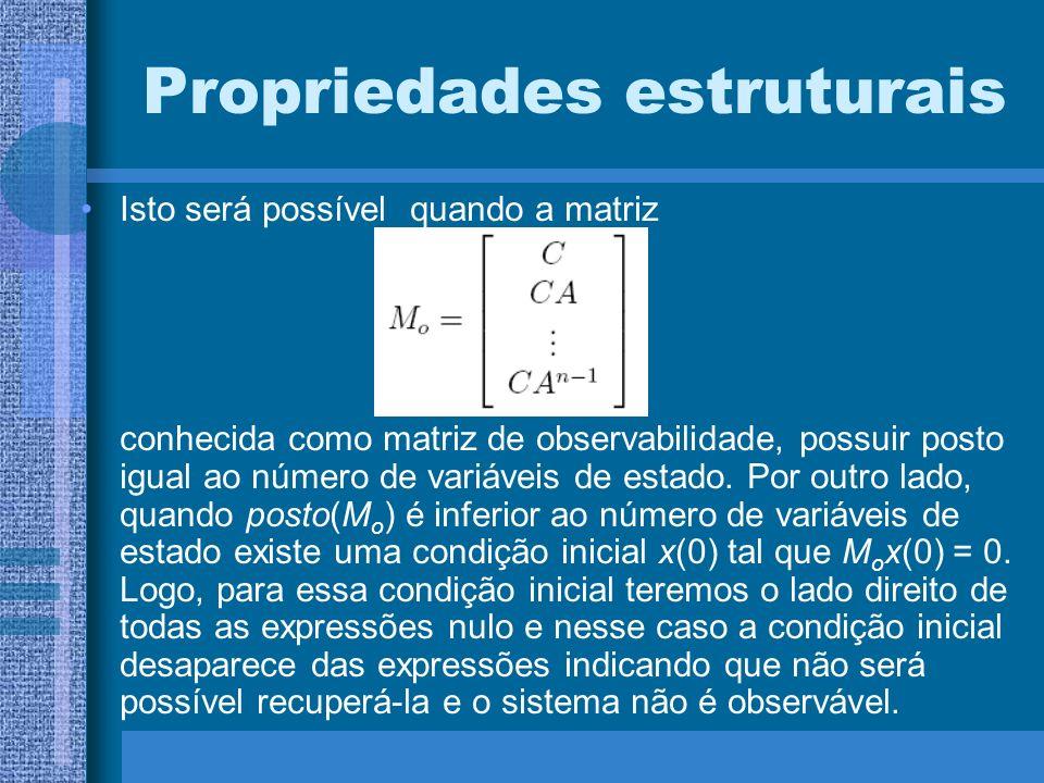 Propriedades estruturais Isto será possível quando a matriz conhecida como matriz de observabilidade, possuir posto igual ao número de variáveis de es