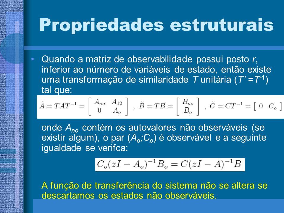 Propriedades estruturais Quando a matriz de observabilidade possui posto r, inferior ao número de variáveis de estado, então existe uma transformação