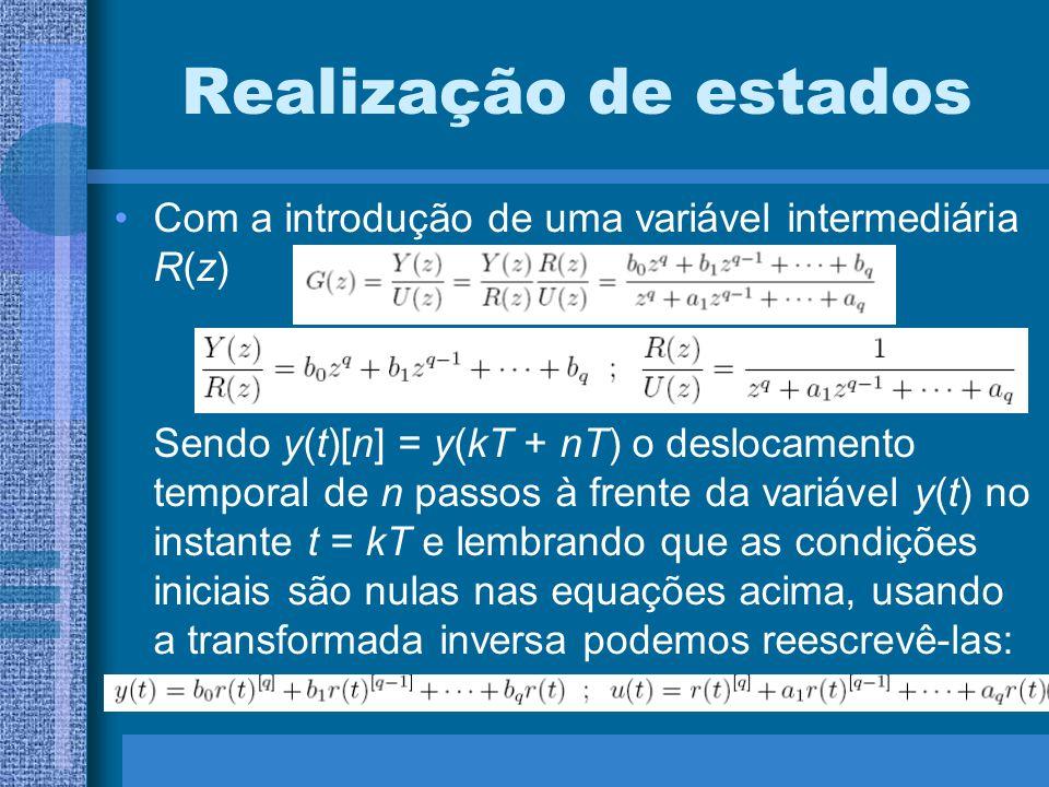 Realização de estados Com a introdução de uma variável intermediária R(z) Sendo y(t)[n] = y(kT + nT) o deslocamento temporal de n passos à frente da v