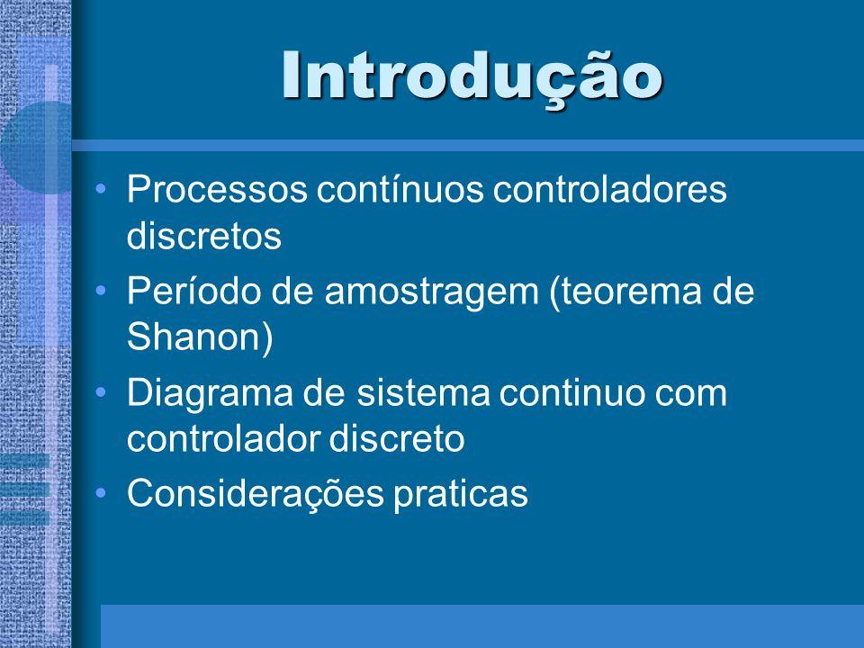 Introdução Processos contínuos controladores discretos Período de amostragem (teorema de Shanon) Diagrama de sistema continuo com controlador discreto