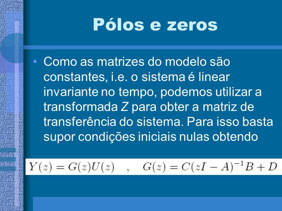 Pólos e zeros Como as matrizes do modelo são constantes, i.e. o sistema é linear invariante no tempo, podemos utilizar a transformada Z para obter a m