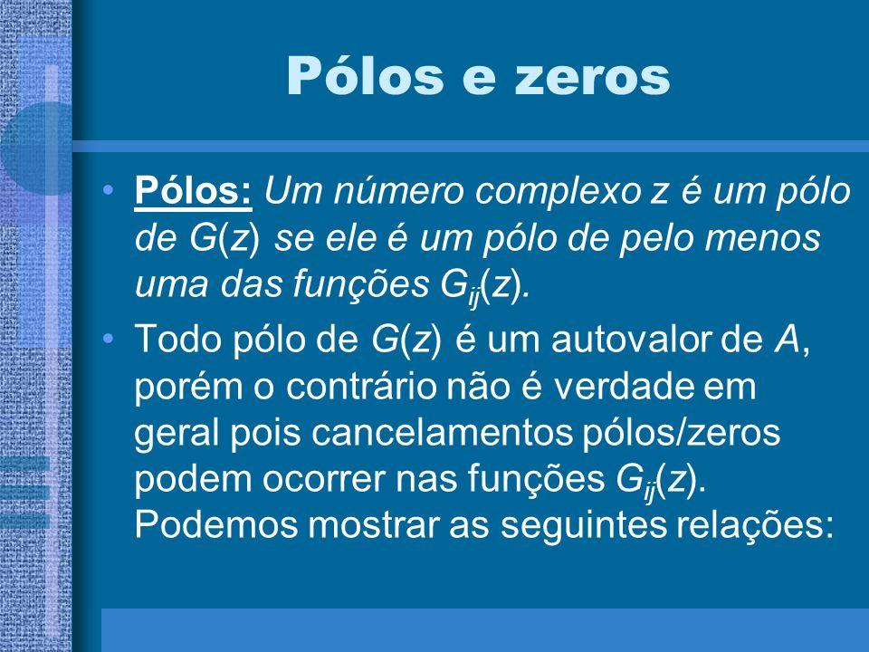 Pólos e zeros Pólos: Um número complexo z é um pólo de G(z) se ele é um pólo de pelo menos uma das funções G ij (z). Todo pólo de G(z) é um autovalor