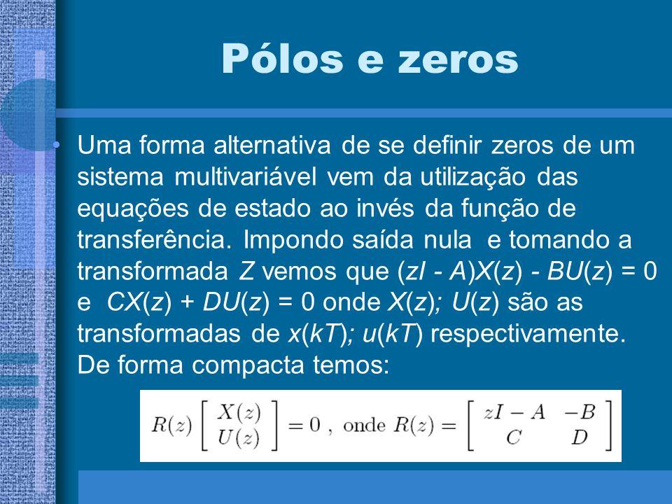 Pólos e zeros Uma forma alternativa de se definir zeros de um sistema multivariável vem da utilização das equações de estado ao invés da função de tra