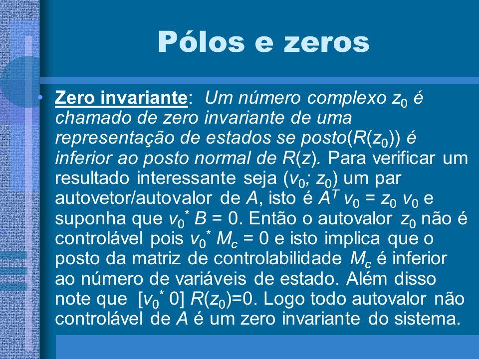Pólos e zeros Zero invariante: Um número complexo z 0 é chamado de zero invariante de uma representação de estados se posto(R(z 0 )) é inferior ao pos