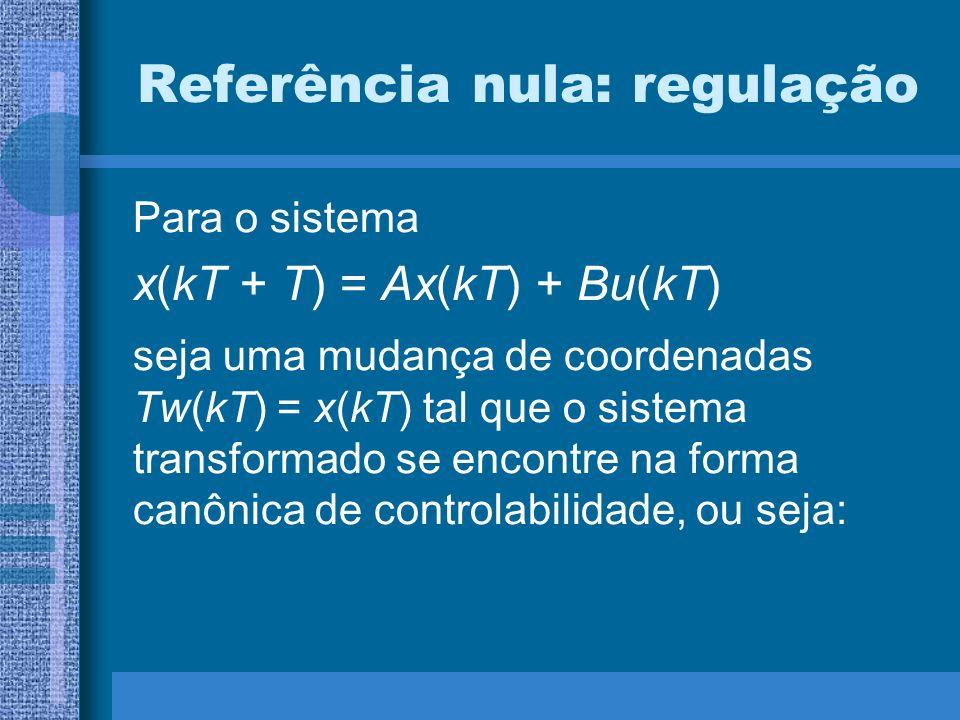 Referência nula: regulação Para o sistema x(kT + T) = Ax(kT) + Bu(kT) seja uma mudança de coordenadas Tw(kT) = x(kT) tal que o sistema transformado se