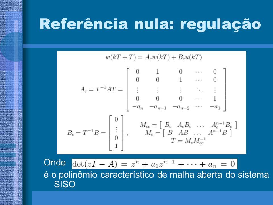 Referência nula: regulação Onde é o polinômio característico de malha aberta do sistema SISO