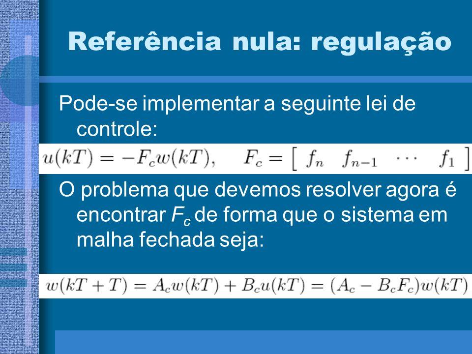 Referência nula: regulação Pode-se implementar a seguinte lei de controle: O problema que devemos resolver agora é encontrar F c de forma que o sistem