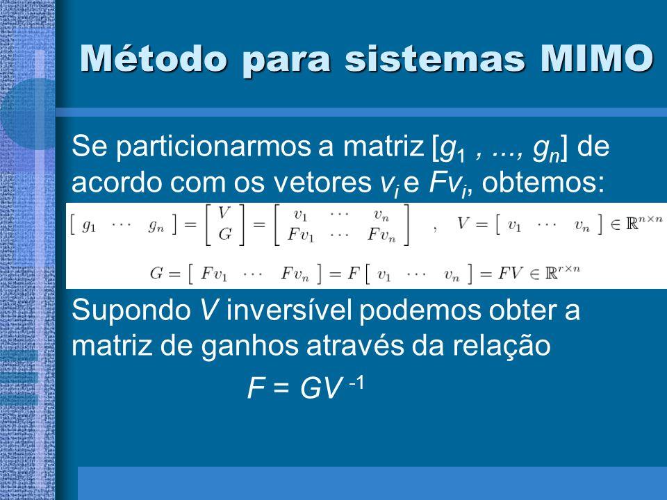Método para sistemas MIMO Se particionarmos a matriz [g 1,..., g n ] de acordo com os vetores v i e Fv i, obtemos: Supondo V inversível podemos obter