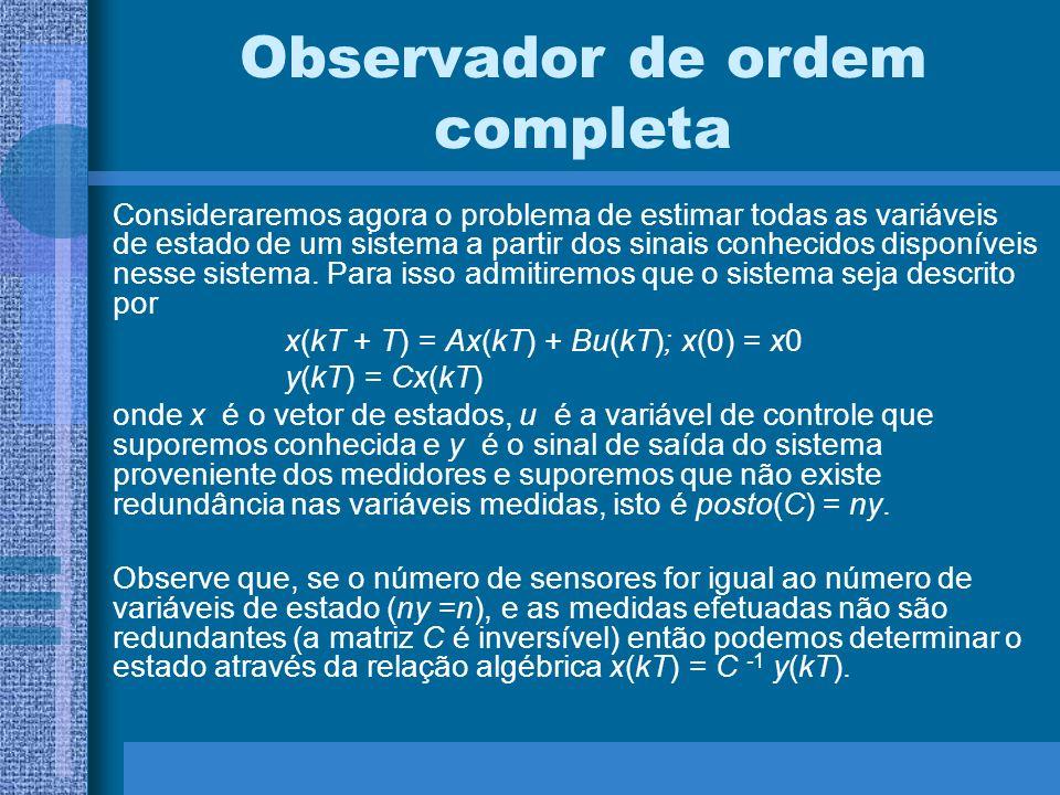 Observador de ordem completa Consideraremos agora o problema de estimar todas as variáveis de estado de um sistema a partir dos sinais conhecidos disp