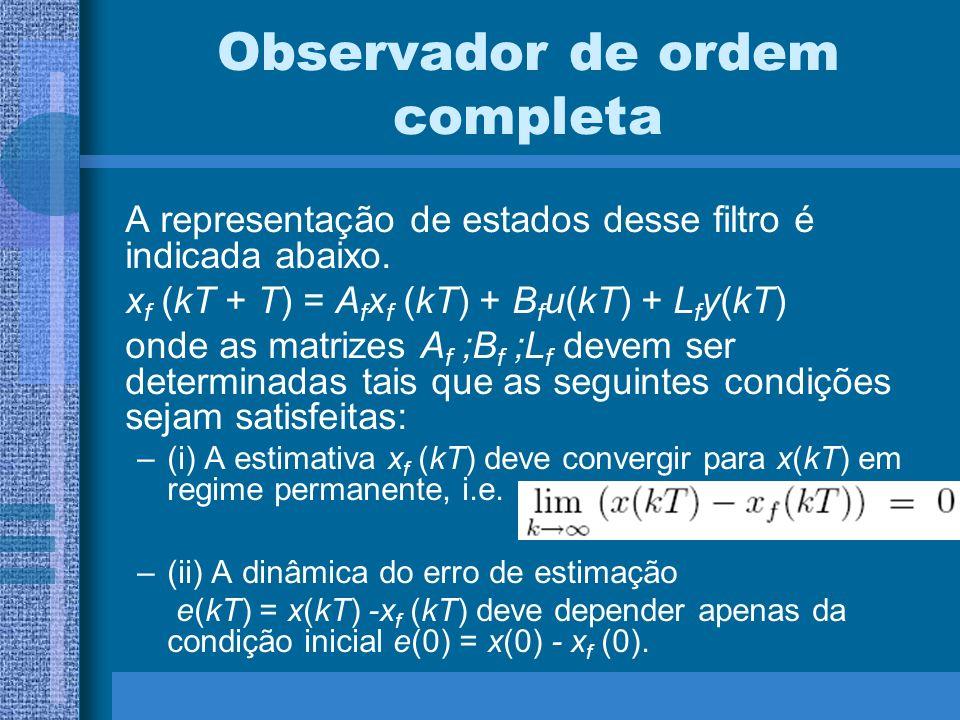 Observador de ordem completa A representação de estados desse filtro é indicada abaixo. x f (kT + T) = A f x f (kT) + B f u(kT) + L f y(kT) onde as ma