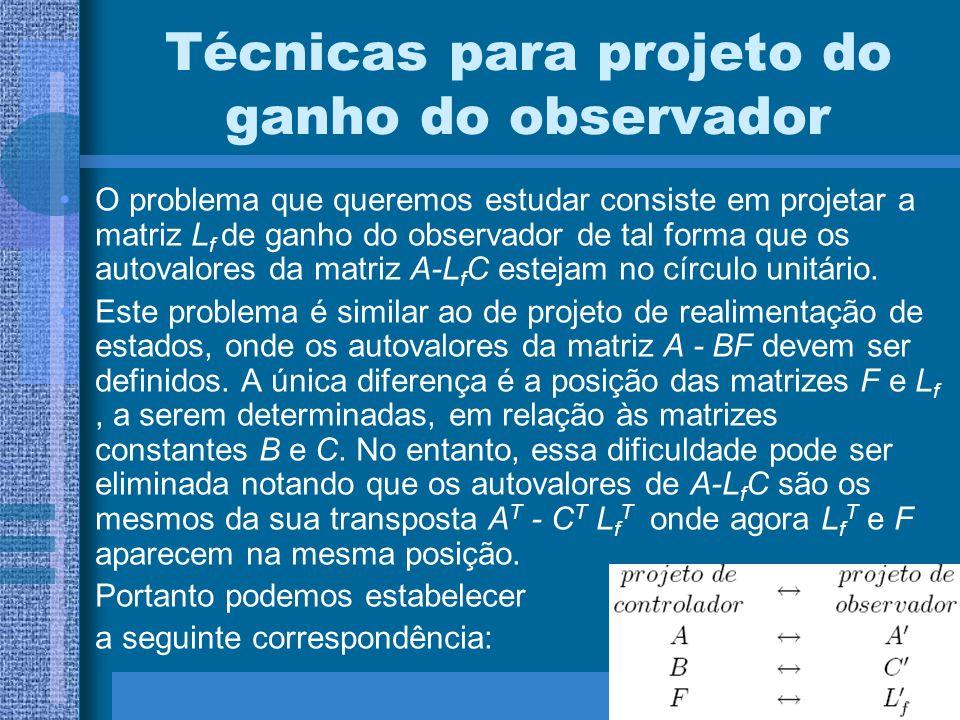Técnicas para projeto do ganho do observador O problema que queremos estudar consiste em projetar a matriz L f de ganho do observador de tal forma que
