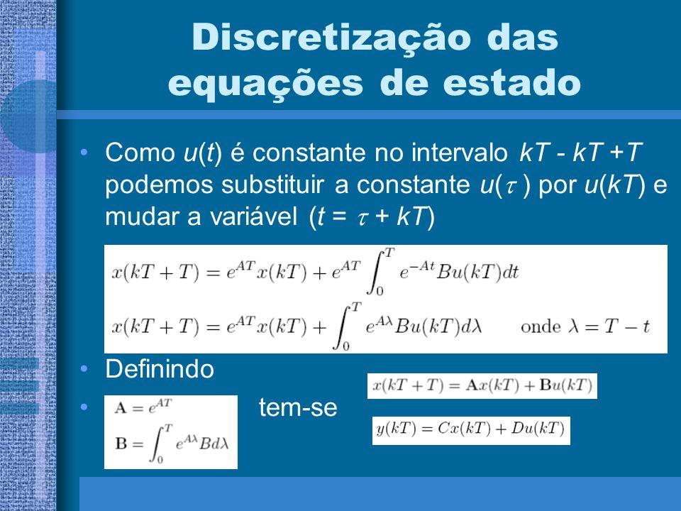 Discretização das equações de estado Como u(t) é constante no intervalo kT - kT +T podemos substituir a constante u( ) por u(kT) e mudar a variável (t