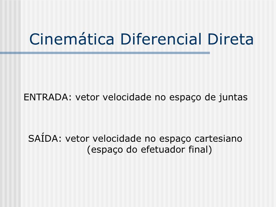 Cinemática Diferencial Inversa ENTRADA: vetor velocidade no espaço cartesiano SAÍDA: vetor velocidade no espaço de juntas