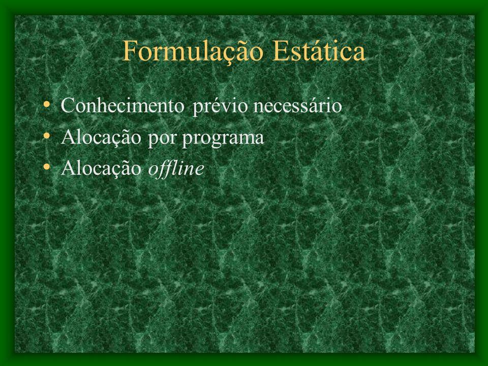 Formulação Estática Conhecimento prévio necessário Alocação por programa Alocação offline