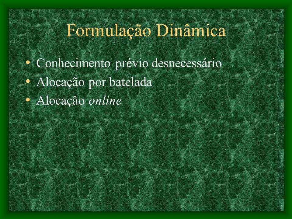 Formulação Dinâmica Conhecimento prévio desnecessário Alocação por batelada Alocação online
