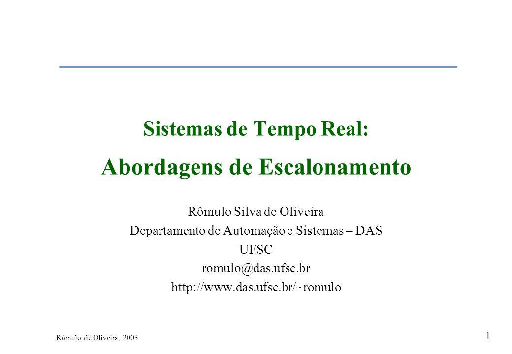 1 Rômulo de Oliveira, 2003 Sistemas de Tempo Real: Abordagens de Escalonamento Rômulo Silva de Oliveira Departamento de Automação e Sistemas – DAS UFS