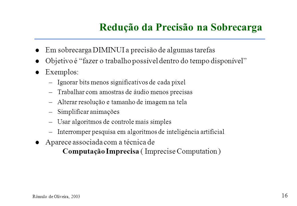 16 Rômulo de Oliveira, 2003 Redução da Precisão na Sobrecarga Em sobrecarga DIMINUI a precisão de algumas tarefas Objetivo é fazer o trabalho possível