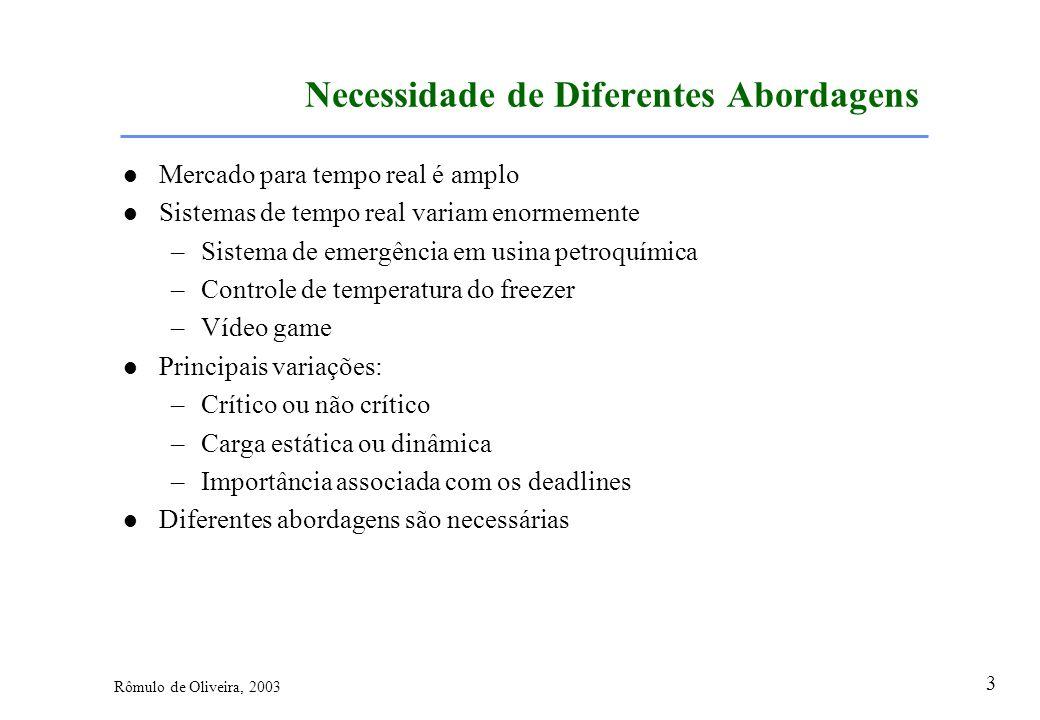 3 Rômulo de Oliveira, 2003 Necessidade de Diferentes Abordagens Mercado para tempo real é amplo Sistemas de tempo real variam enormemente –Sistema de