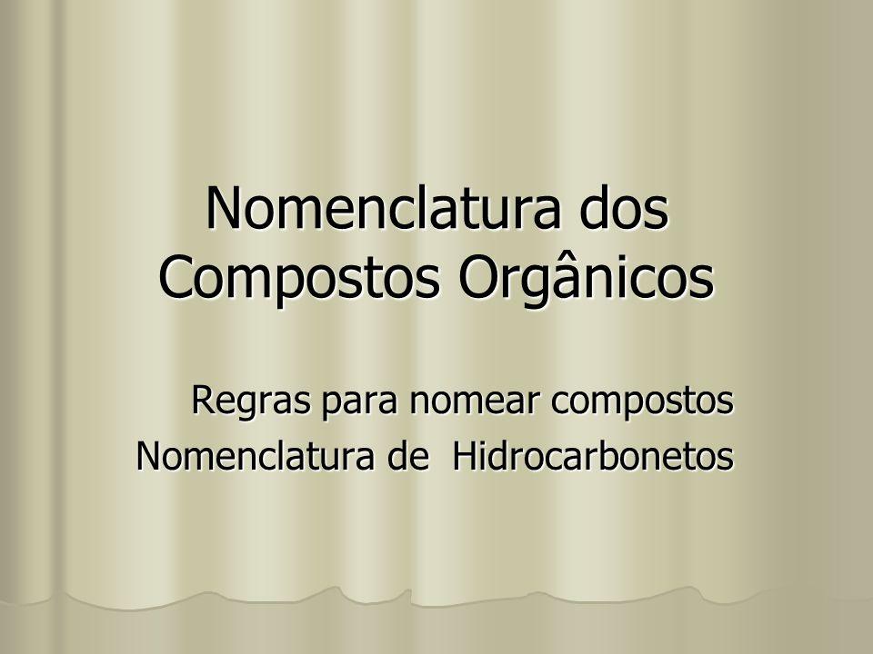 Nomenclatura dos Compostos Orgânicos Regras para nomear compostos Nomenclatura de Hidrocarbonetos