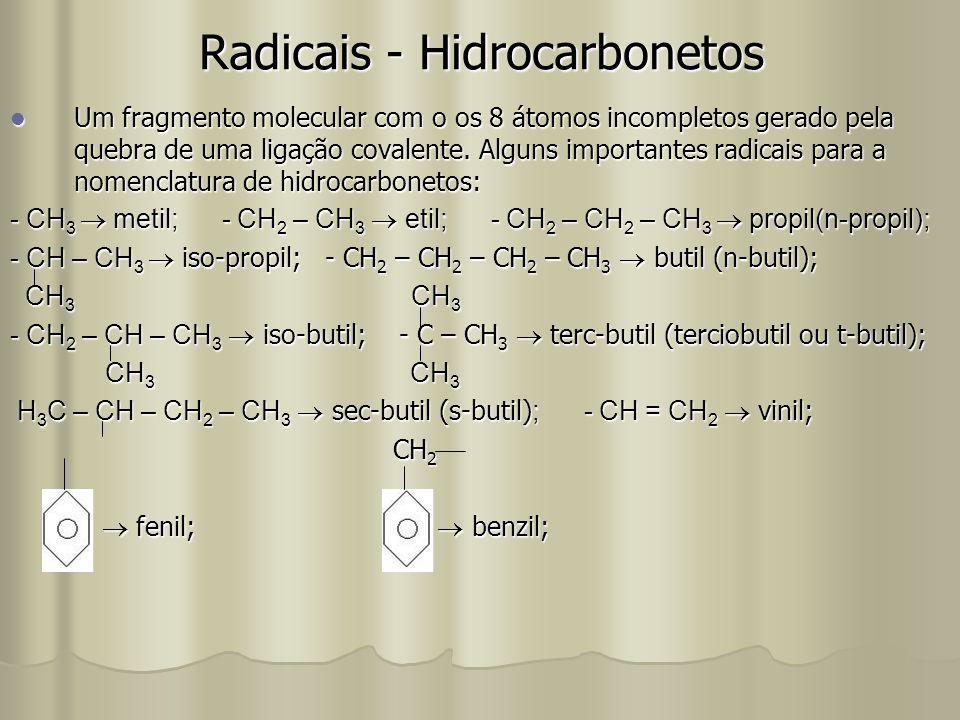 Radicais - Hidrocarbonetos Um fragmento molecular com o os 8 átomos incompletos gerado pela quebra de uma ligação covalente. Alguns importantes radica