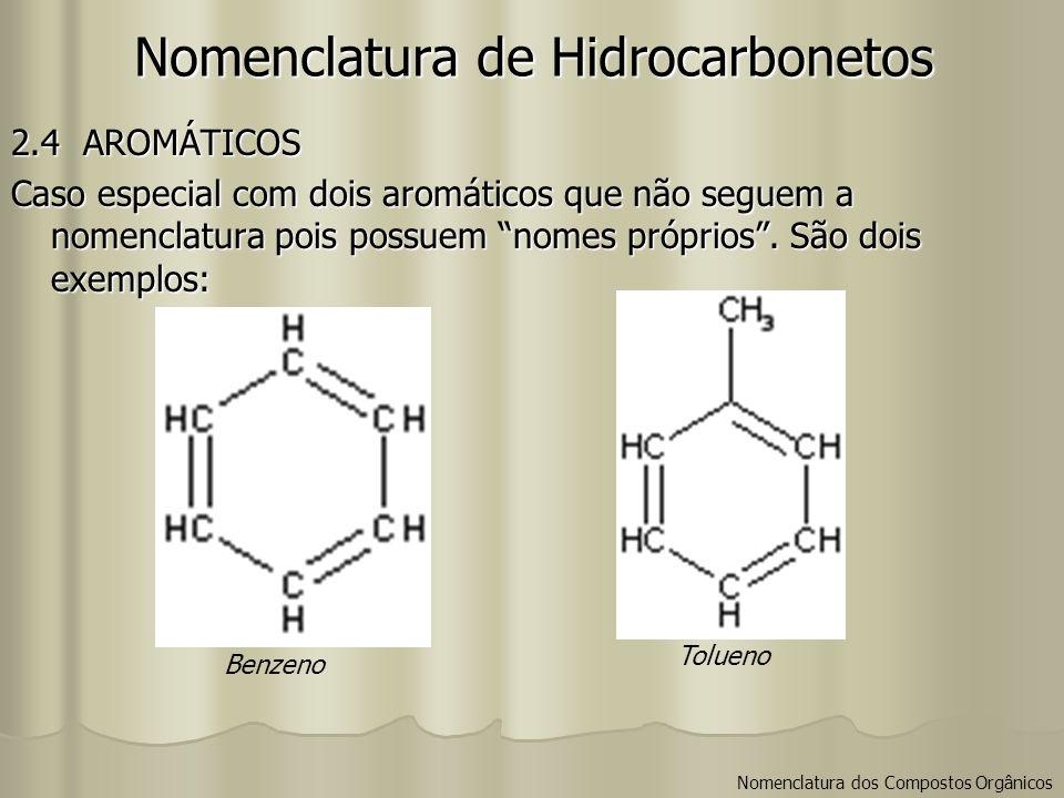 Nomenclatura de Hidrocarbonetos Nomenclatura dos Compostos Orgânicos 2.4 AROMÁTICOS Caso especial com dois aromáticos que não seguem a nomenclatura po