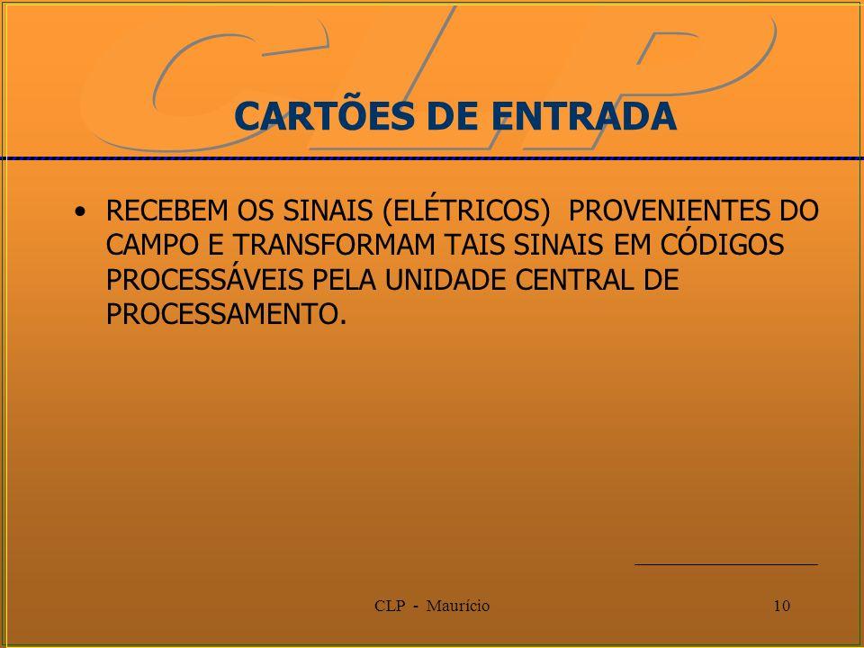 CLP - Maurício10 CARTÕES DE ENTRADA RECEBEM OS SINAIS (ELÉTRICOS) PROVENIENTES DO CAMPO E TRANSFORMAM TAIS SINAIS EM CÓDIGOS PROCESSÁVEIS PELA UNIDADE