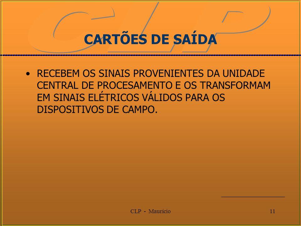 CLP - Maurício11 CARTÕES DE SAÍDA RECEBEM OS SINAIS PROVENIENTES DA UNIDADE CENTRAL DE PROCESAMENTO E OS TRANSFORMAM EM SINAIS ELÉTRICOS VÁLIDOS PARA