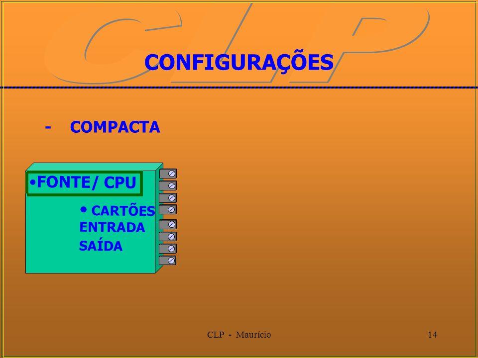 CLP - Maurício14 CONFIGURAÇÕES - COMPACTA FONTE/ CPU CARTÕES ENTRADA SAÍDA