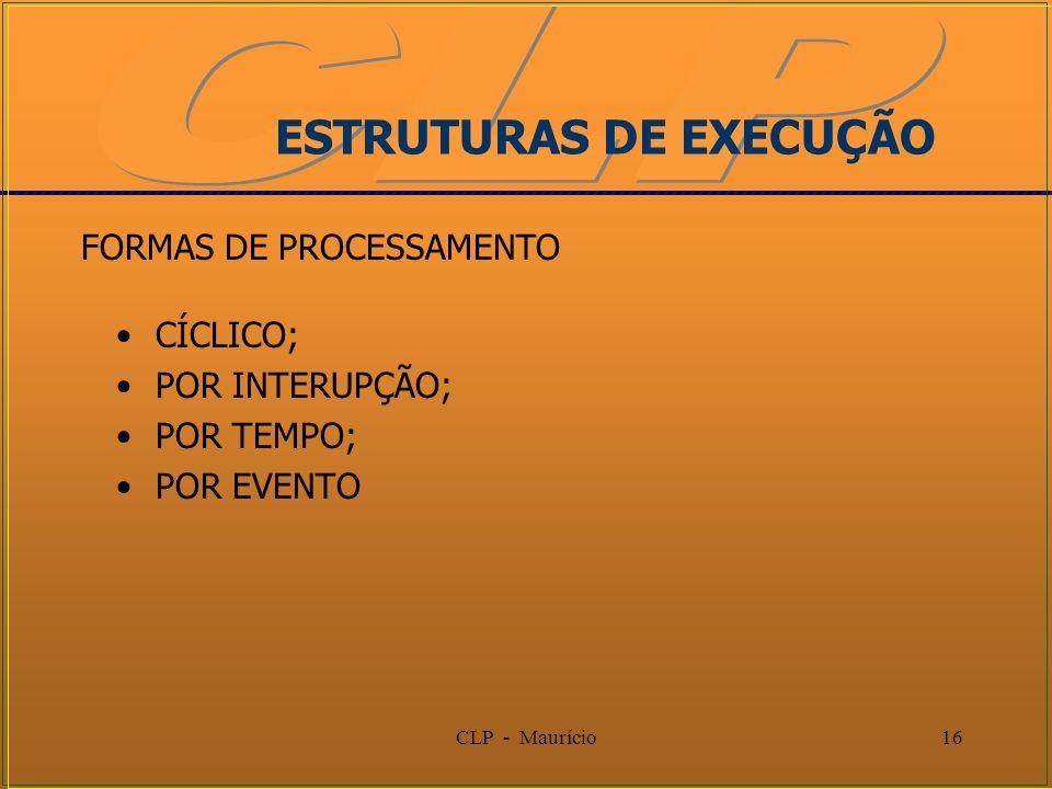 CLP - Maurício16 ESTRUTURAS DE EXECUÇÃO CÍCLICO; POR INTERUPÇÃO; POR TEMPO; POR EVENTO FORMAS DE PROCESSAMENTO