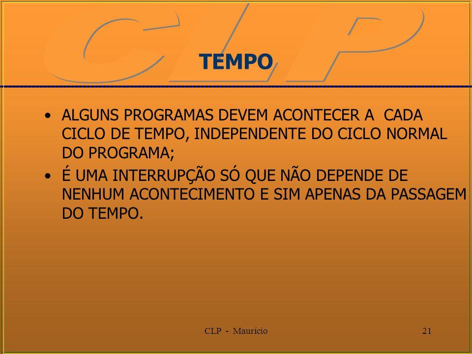 CLP - Maurício21 TEMPO ALGUNS PROGRAMAS DEVEM ACONTECER A CADA CICLO DE TEMPO, INDEPENDENTE DO CICLO NORMAL DO PROGRAMA; É UMA INTERRUPÇÃO SÓ QUE NÃO