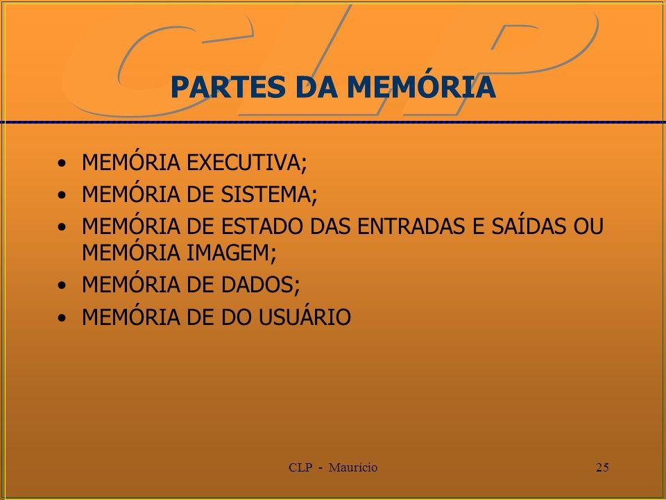CLP - Maurício25 PARTES DA MEMÓRIA MEMÓRIA EXECUTIVA; MEMÓRIA DE SISTEMA; MEMÓRIA DE ESTADO DAS ENTRADAS E SAÍDAS OU MEMÓRIA IMAGEM; MEMÓRIA DE DADOS;