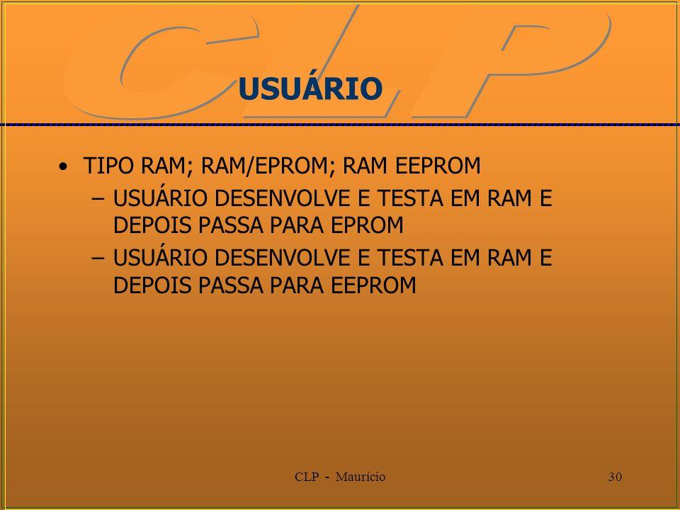 CLP - Maurício30 USUÁRIO TIPO RAM; RAM/EPROM; RAM EEPROM –USUÁRIO DESENVOLVE E TESTA EM RAM E DEPOIS PASSA PARA EPROM –USUÁRIO DESENVOLVE E TESTA EM R