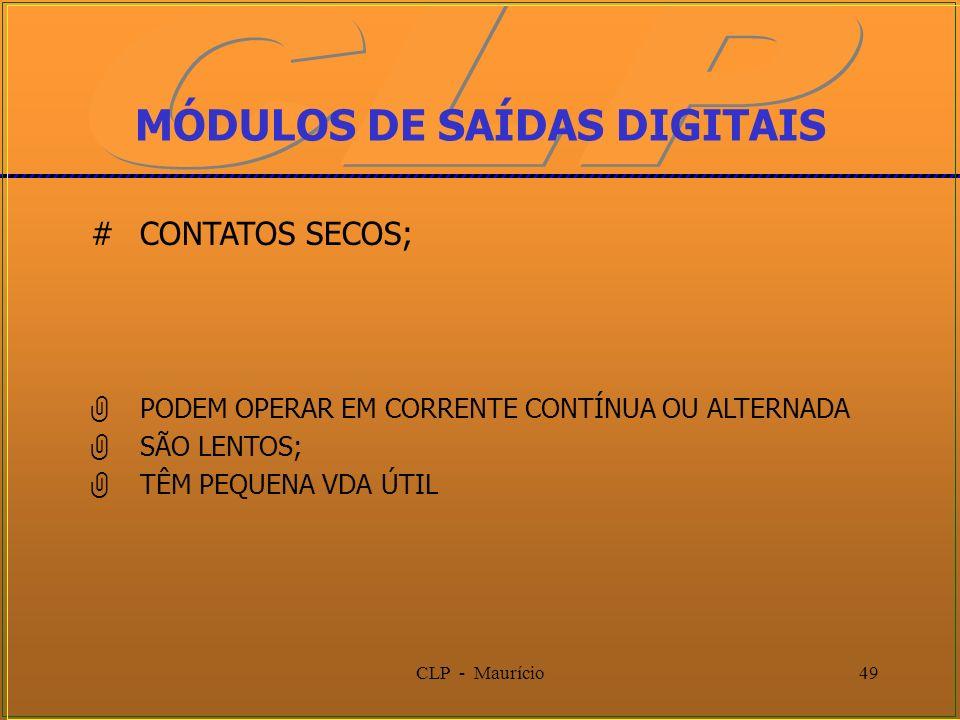 CLP - Maurício49 MÓDULOS DE SAÍDAS DIGITAIS #CONTATOS SECOS; PODEM OPERAR EM CORRENTE CONTÍNUA OU ALTERNADA SÃO LENTOS; TÊM PEQUENA VDA ÚTIL