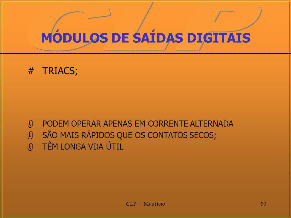 CLP - Maurício50 MÓDULOS DE SAÍDAS DIGITAIS #TRIACS; PODEM OPERAR APENAS EM CORRENTE ALTERNADA SÃO MAIS RÁPIDOS QUE OS CONTATOS SECOS; TÊM LONGA VDA Ú