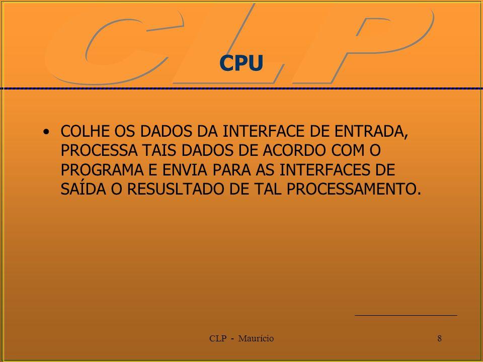 CLP - Maurício8 CPU COLHE OS DADOS DA INTERFACE DE ENTRADA, PROCESSA TAIS DADOS DE ACORDO COM O PROGRAMA E ENVIA PARA AS INTERFACES DE SAÍDA O RESUSLT