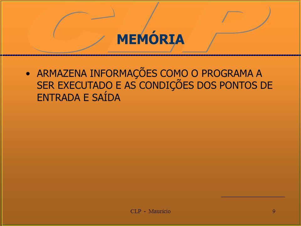 CLP - Maurício9 MEMÓRIA ARMAZENA INFORMAÇÕES COMO O PROGRAMA A SER EXECUTADO E AS CONDIÇÕES DOS PONTOS DE ENTRADA E SAÍDA