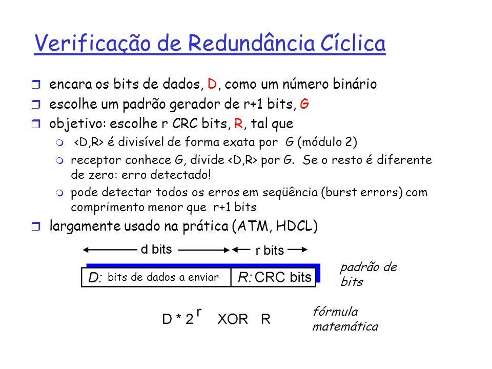 Verificação de Redundância Cíclica r encara os bits de dados, D, como um número binário r escolhe um padrão gerador de r+1 bits, G r objetivo: escolhe r CRC bits, R, tal que m é divisível de forma exata por G (módulo 2) m receptor conhece G, divide por G.