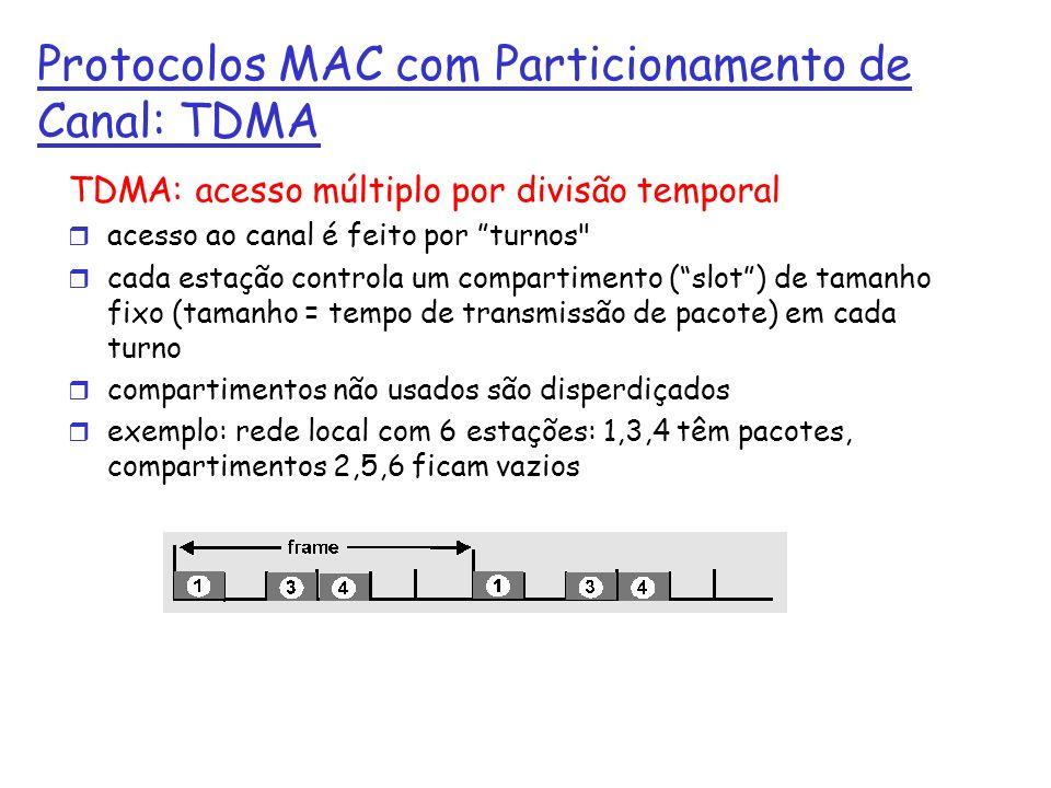 Protocolos MAC com Particionamento de Canal: TDMA TDMA: acesso múltiplo por divisão temporal r acesso ao canal é feito por turnos r cada estação controla um compartimento (slot) de tamanho fixo (tamanho = tempo de transmissão de pacote) em cada turno r compartimentos não usados são disperdiçados r exemplo: rede local com 6 estações: 1,3,4 têm pacotes, compartimentos 2,5,6 ficam vazios r TDM (Time Division Multiplexing): channel divided into N time slots, one per user; inefficient with low duty cycle users and at light load.