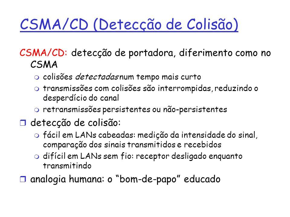 CSMA/CD (Detecção de Colisão) CSMA/CD: detecção de portadora, diferimento como no CSMA m colisões detectadas num tempo mais curto m transmissões com colisões são interrompidas, reduzindo o desperdício do canal m retransmissões persistentes ou não-persistentes r detecção de colisão: m fácil em LANs cabeadas: medição da intensidade do sinal, comparação dos sinais transmitidos e recebidos m difícil em LANs sem fio: receptor desligado enquanto transmitindo r analogia humana: o bom-de-papo educado