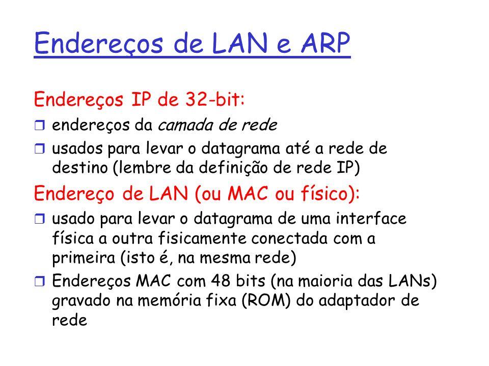 Endereços de LAN e ARP Endereços IP de 32-bit: r endereços da camada de rede r usados para levar o datagrama até a rede de destino (lembre da definição de rede IP) Endereço de LAN (ou MAC ou físico): r usado para levar o datagrama de uma interface física a outra fisicamente conectada com a primeira (isto é, na mesma rede) r Endereços MAC com 48 bits (na maioria das LANs) gravado na memória fixa (ROM) do adaptador de rede