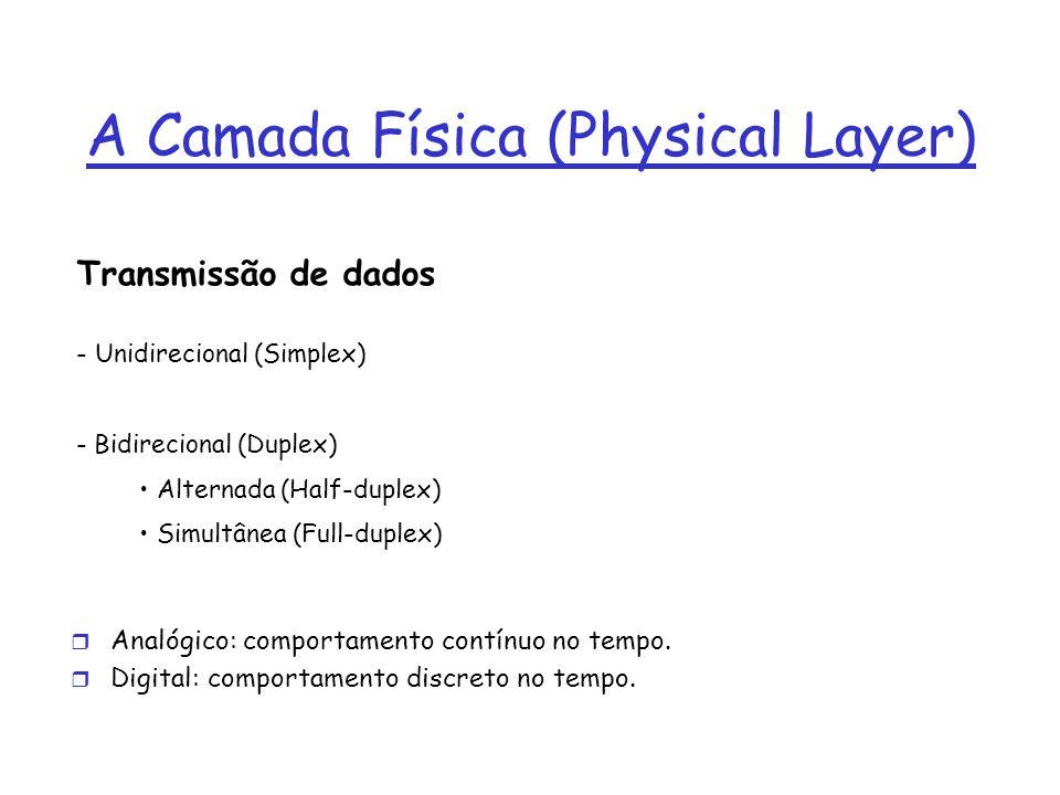 A Camada Física (Physical Layer) Transmissão de dados - Unidirecional (Simplex) - Bidirecional (Duplex) Alternada (Half-duplex) Simultânea (Full-duplex) r Analógico: comportamento contínuo no tempo.