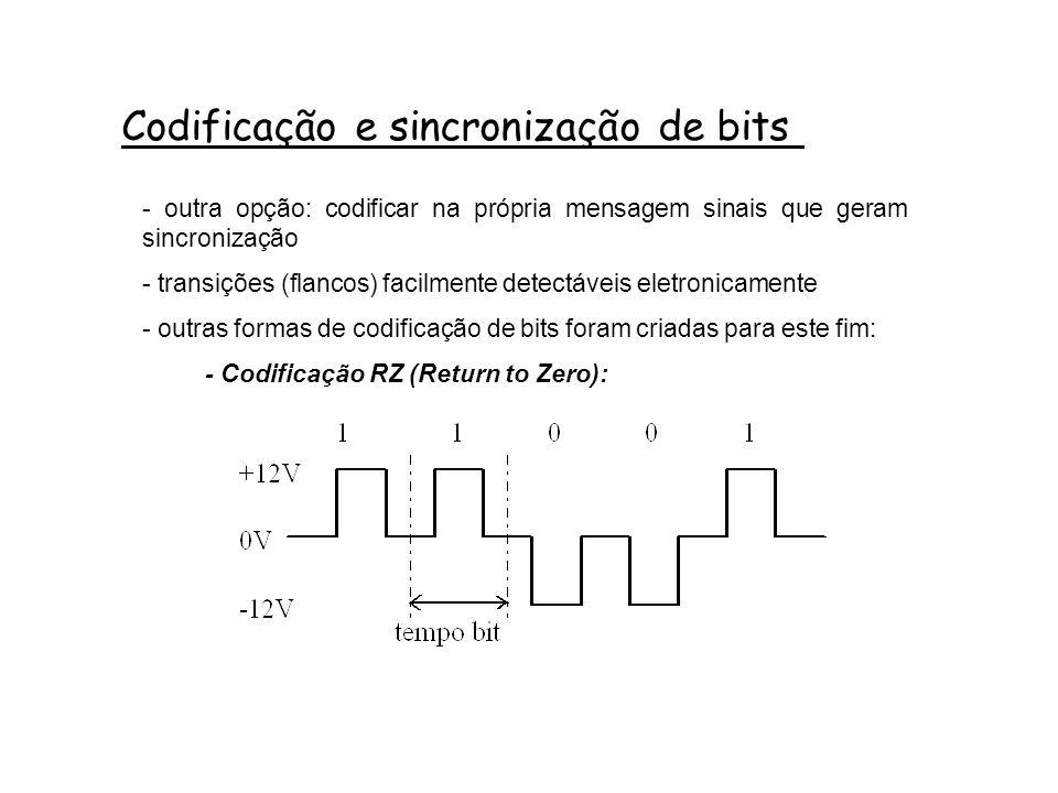 Codificação e sincronização de bits - outra opção: codificar na própria mensagem sinais que geram sincronização - transições (flancos) facilmente detectáveis eletronicamente - outras formas de codificação de bits foram criadas para este fim: - Codificação RZ (Return to Zero):