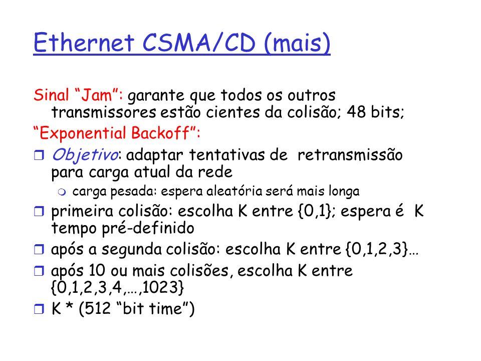 Ethernet CSMA/CD (mais) Sinal Jam: garante que todos os outros transmissores estão cientes da colisão; 48 bits; Exponential Backoff: r Objetivo: adaptar tentativas de retransmissão para carga atual da rede m carga pesada: espera aleatória será mais longa r primeira colisão: escolha K entre {0,1}; espera é K tempo pré-definido r após a segunda colisão: escolha K entre {0,1,2,3}… r após 10 ou mais colisões, escolha K entre {0,1,2,3,4,…,1023} r K * (512 bit time)