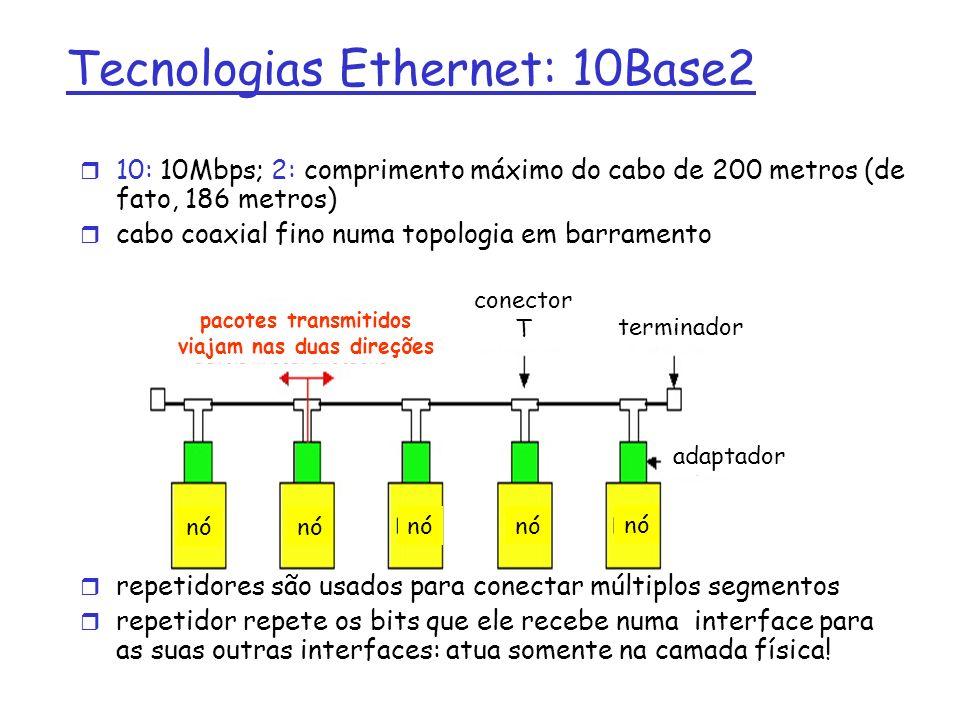 Tecnologias Ethernet: 10Base2 r 10: 10Mbps; 2: comprimento máximo do cabo de 200 metros (de fato, 186 metros) r cabo coaxial fino numa topologia em barramento r repetidores são usados para conectar múltiplos segmentos r repetidor repete os bits que ele recebe numa interface para as suas outras interfaces: atua somente na camada física.
