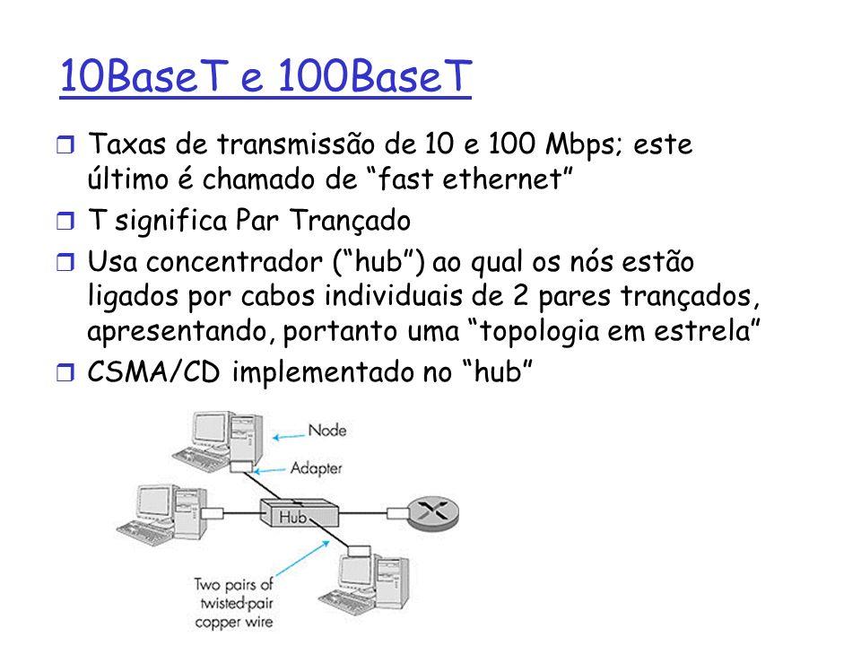 10BaseT e 100BaseT r Taxas de transmissão de 10 e 100 Mbps; este último é chamado de fast ethernet r T significa Par Trançado r Usa concentrador (hub) ao qual os nós estão ligados por cabos individuais de 2 pares trançados, apresentando, portanto uma topologia em estrela r CSMA/CD implementado no hub