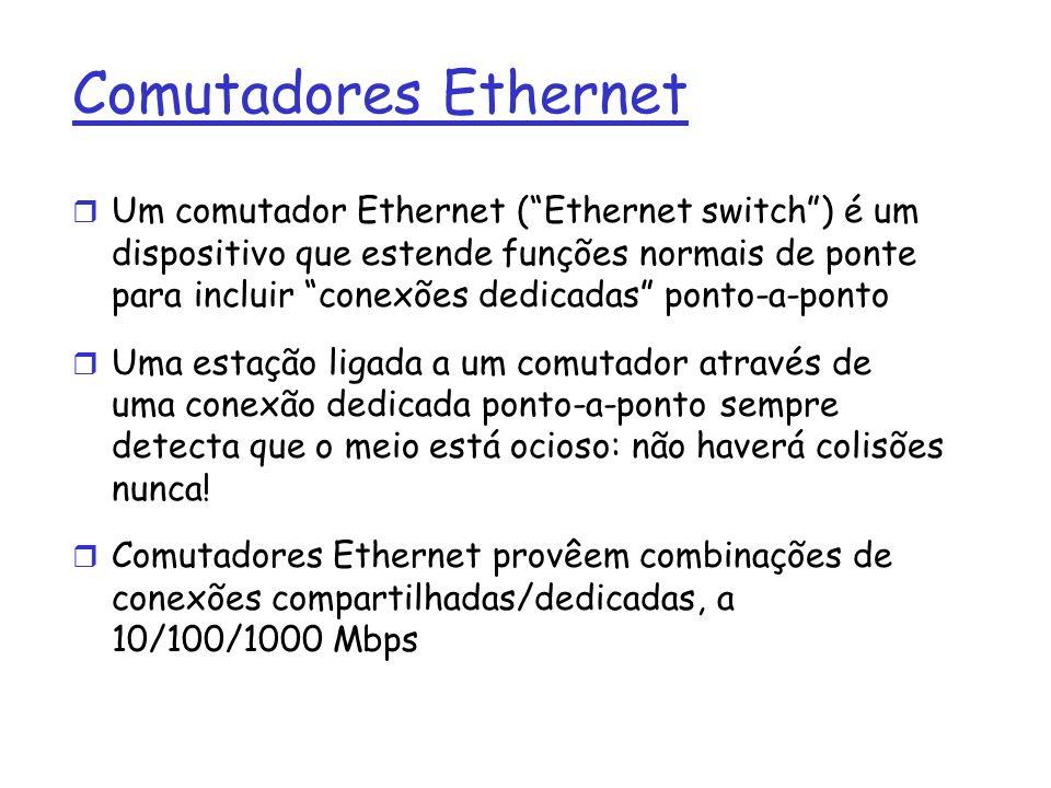 Comutadores Ethernet r Um comutador Ethernet (Ethernet switch) é um dispositivo que estende funções normais de ponte para incluir conexões dedicadas ponto-a-ponto r Uma estação ligada a um comutador através de uma conexão dedicada ponto-a-ponto sempre detecta que o meio está ocioso: não haverá colisões nunca.