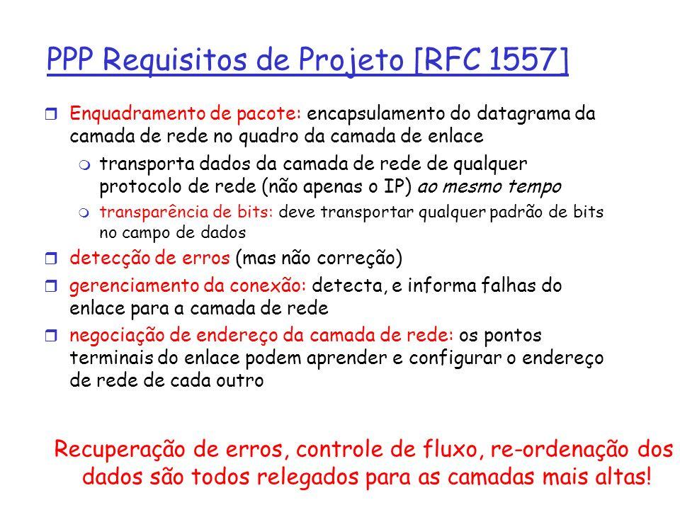 PPP Requisitos de Projeto [RFC 1557] r Enquadramento de pacote: encapsulamento do datagrama da camada de rede no quadro da camada de enlace m transporta dados da camada de rede de qualquer protocolo de rede (não apenas o IP) ao mesmo tempo m transparência de bits: deve transportar qualquer padrão de bits no campo de dados r detecção de erros (mas não correção) r gerenciamento da conexão: detecta, e informa falhas do enlace para a camada de rede r negociação de endereço da camada de rede: os pontos terminais do enlace podem aprender e configurar o endereço de rede de cada outro Recuperação de erros, controle de fluxo, re-ordenação dos dados são todos relegados para as camadas mais altas!
