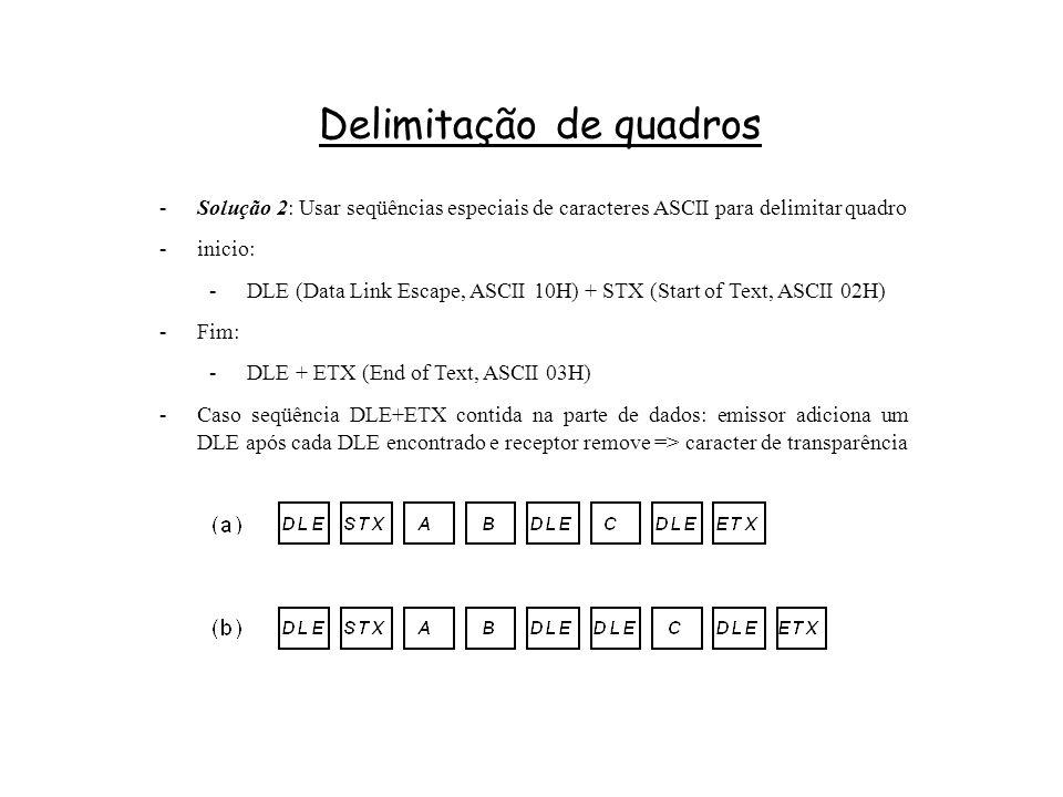 Delimitação de quadros -Solução 2: Usar seqüências especiais de caracteres ASCII para delimitar quadro -inicio: -DLE (Data Link Escape, ASCII 10H) + STX (Start of Text, ASCII 02H) -Fim: -DLE + ETX (End of Text, ASCII 03H) -Caso seqüência DLE+ETX contida na parte de dados: emissor adiciona um DLE após cada DLE encontrado e receptor remove => caracter de transparência